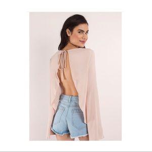 Open Back Light Pink Blouse